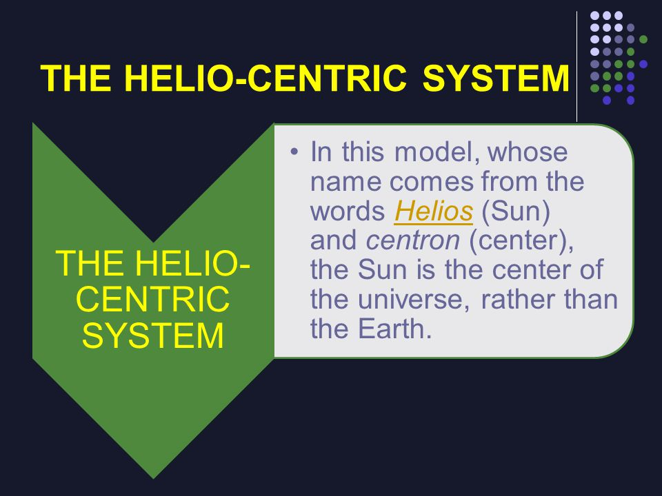 THE HELIO-CENTRIC SYSTEM In this model, whose name comes from the words Helios (Sun) and centron (center), the Sun is the center of the universe, rath