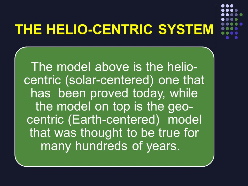 The model above is the helio- centric (solar-centered) one that has been proved today, while the model on top is the geo- centric (Earth-centered) mod