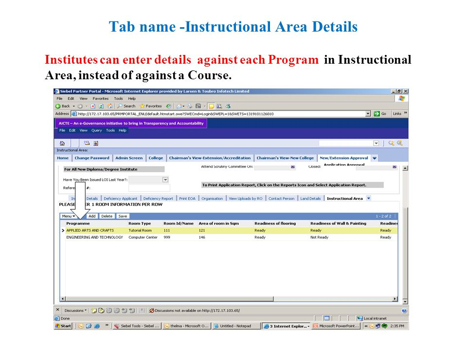 Institutes can enter details against each Program in Instructional Area, instead of against a Course.