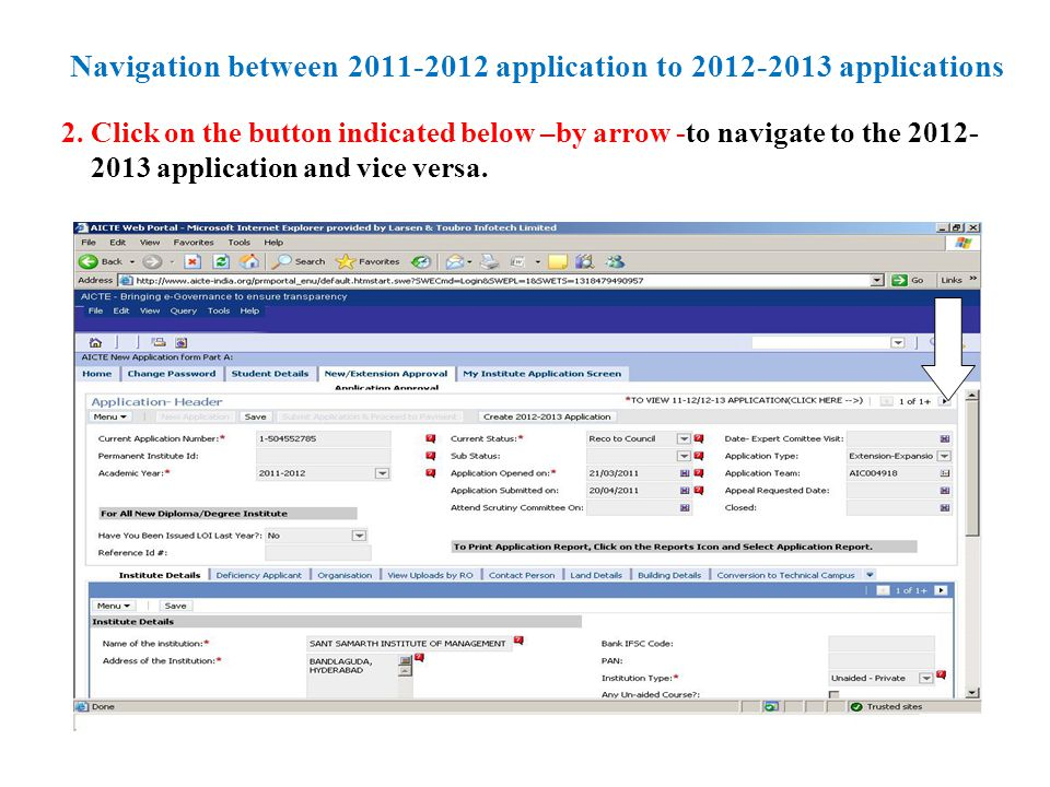 Navigation between 2011-2012 application to 2012-2013 applications 2.