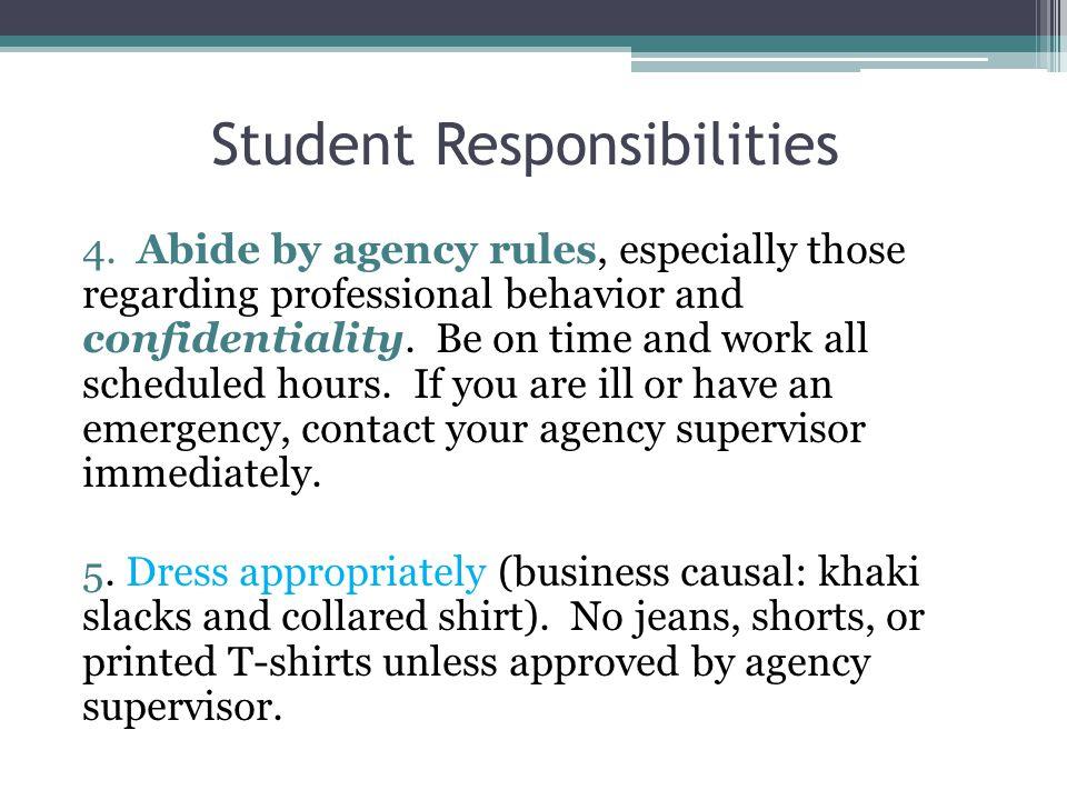 Student Responsibilities 4.