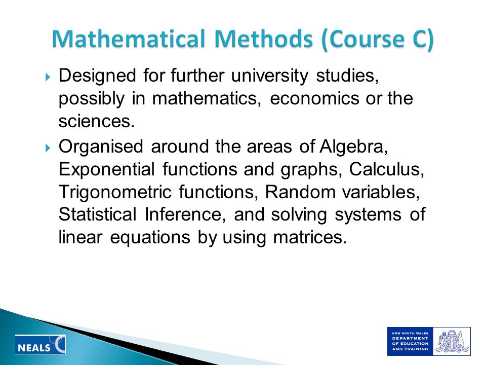 Designed for further university studies, possibly in mathematics, economics or the sciences.