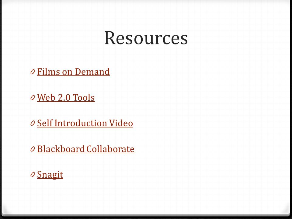Resources 0 Films on Demand Films on Demand 0 Web 2.0 Tools Web 2.0 Tools 0 Self Introduction Video Self Introduction Video 0 Blackboard Collaborate B