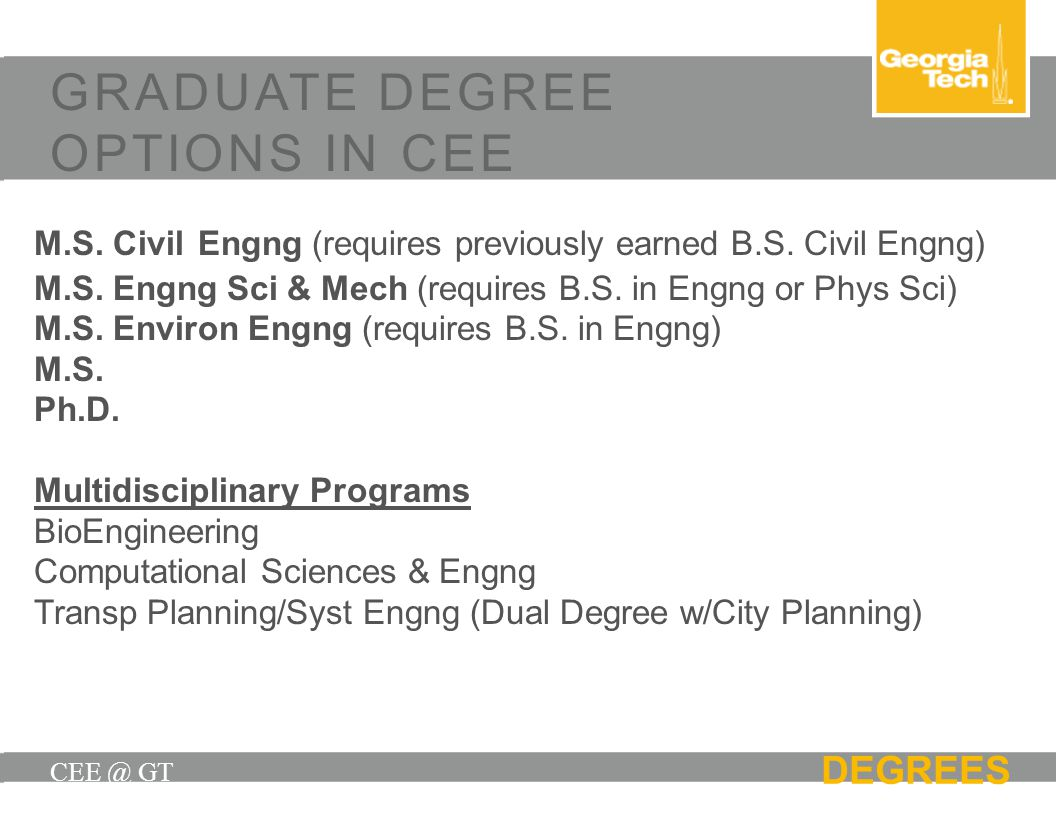 CEE @ GT DEGREES GRADUATE DEGREE OPTIONS IN CEE M.S. Civil Engng (requires previously earned B.S. Civil Engng) M.S. Engng Sci & Mech (requires B.S. in