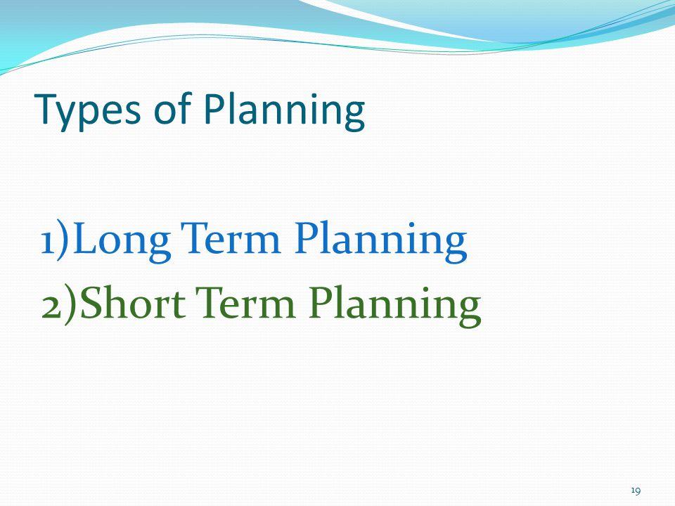 Types of Planning 1)Long Term Planning 2)Short Term Planning 19