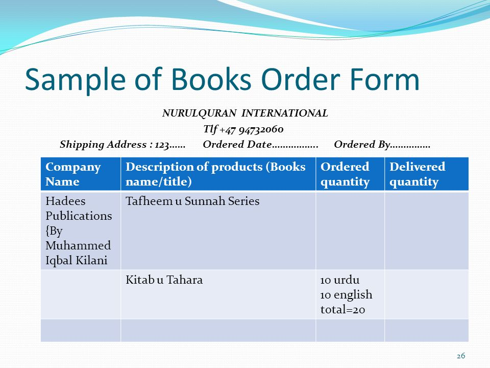 Sample of Books Order Form 26 NURULQURAN INTERNATIONAL Tlf +47 94732060 Shipping Address : 123…… Ordered Date…………….. Ordered By…………… Company Name Desc
