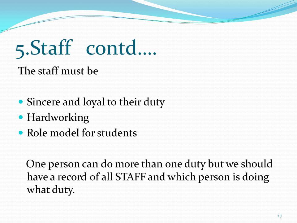 5.Staff contd….