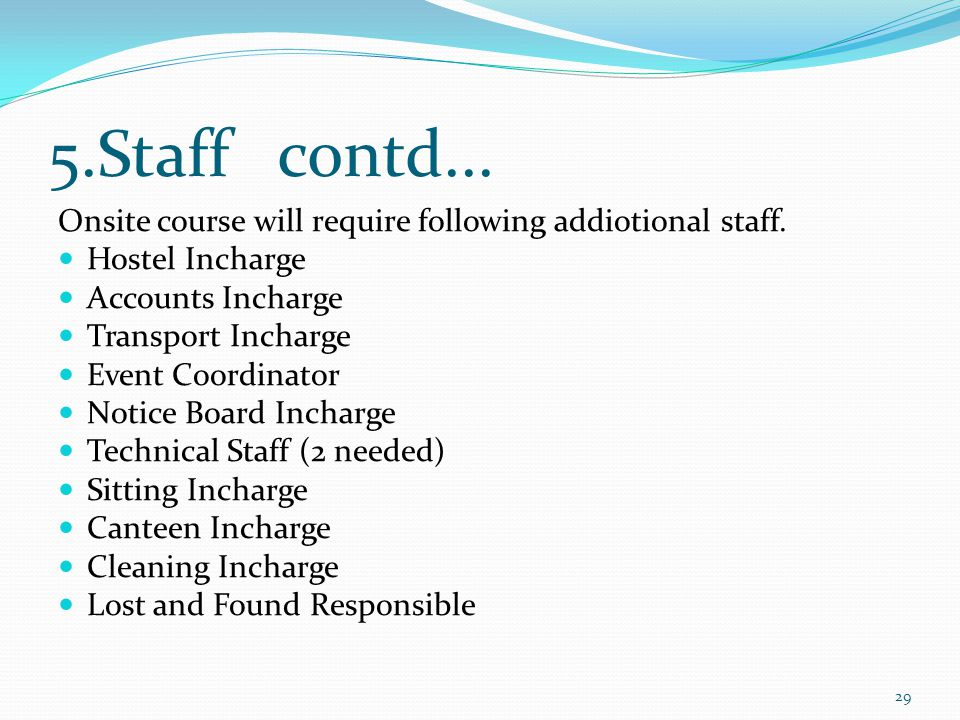 5.Staff contd... Onsite course will require following addiotional staff.