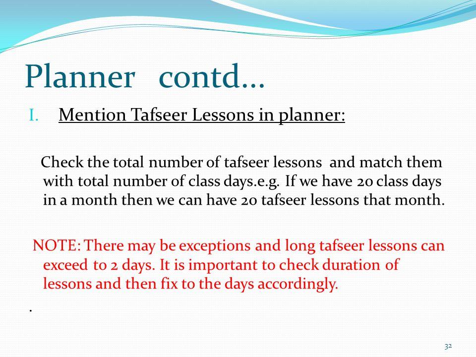 Planner contd... I.