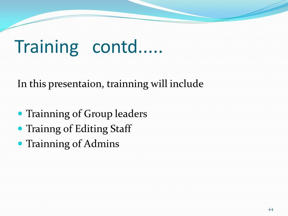 Training contd.....