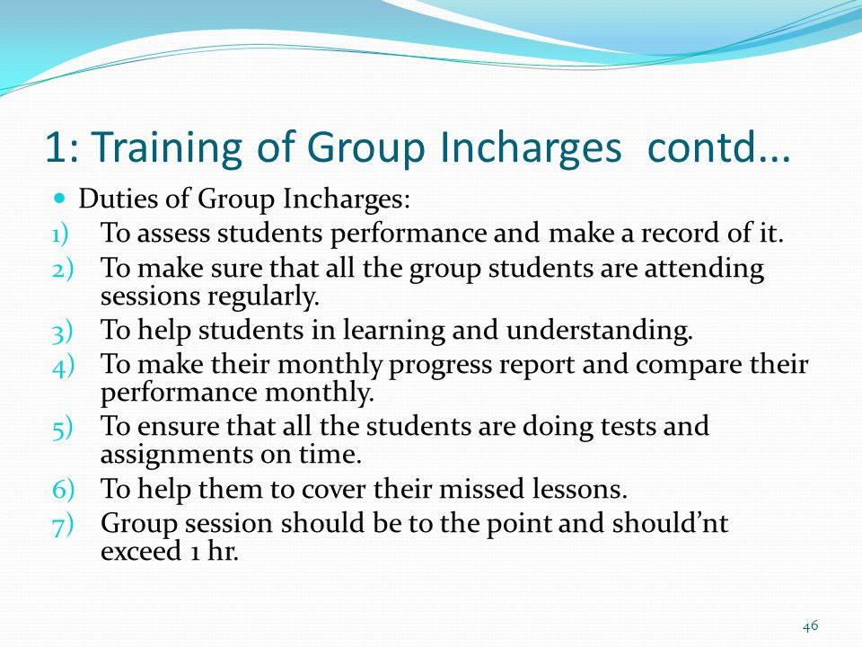 1: Training of Group Incharges contd...