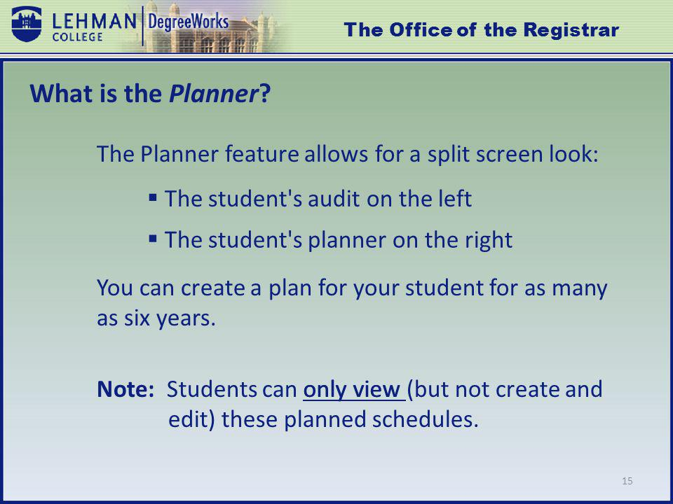 15 What is the Planner.