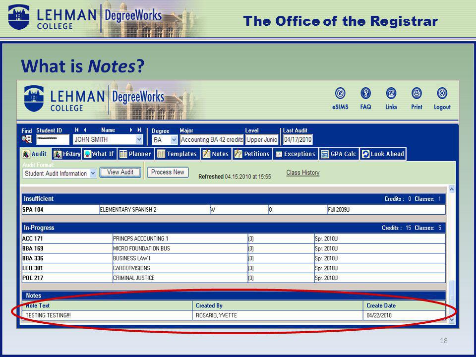 18 What is Notes The Office of the Registrar