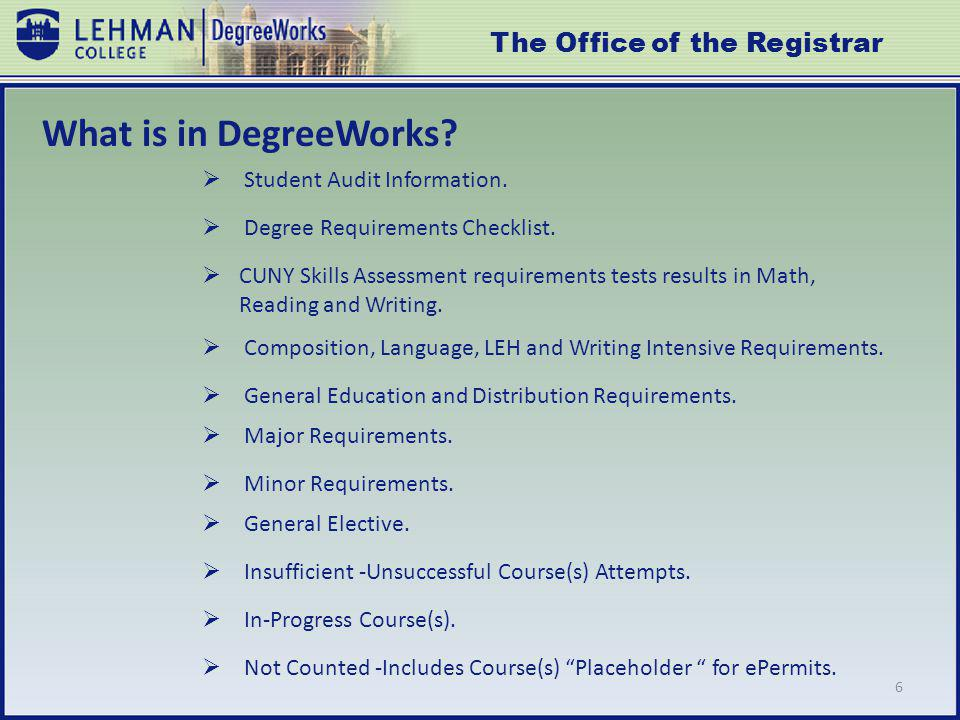 6 What is in DegreeWorks. Student Audit Information.