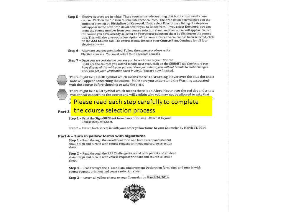 Please read each step carefully to complete the course selection process