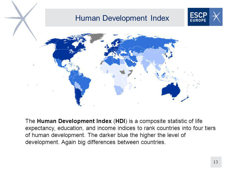 13 Human Development Index The Human Development Index (HDI) is a composite statistic of life expectancy, education, and income indices to rank countries into four tiers of human development.