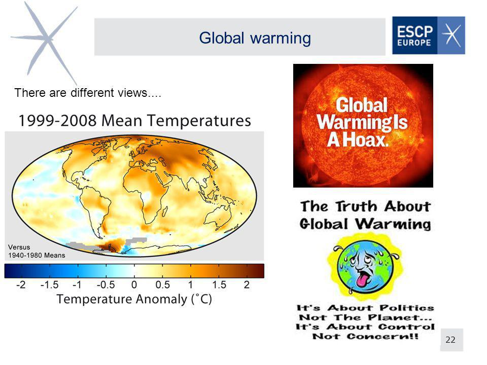 22 Global warming There are different views....