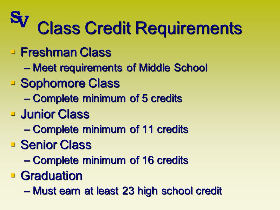 Class Credit Requirements Freshman Class Freshman Class –Meet requirements of Middle School Sophomore Class Sophomore Class –Complete minimum of 5 credits Junior Class Junior Class –Complete minimum of 11 credits Senior Class Senior Class –Complete minimum of 16 credits Graduation Graduation –Must earn at least 23 high school credit S V