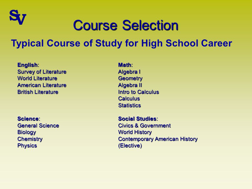 Course Selection English: Math: Survey of LiteratureAlgebra I World Literature Geometry American Literature Algebra II British Literature Intro to Calculus CalculusStatistics Science: Social Studies: General Science Civics & Government BiologyWorld History ChemistryContemporary American History Physics(Elective) Typical Course of Study for High School Career S V