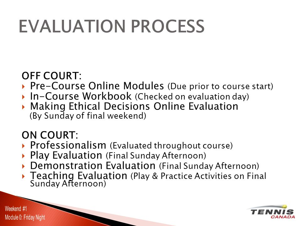 OFF COURT: Pre-Course Online Modules (Due prior to course start) In-Course Workbook (Checked on evaluation day) Making Ethical Decisions Online Evaluation (By Sunday of final weekend) ON COURT: Professionalism (Evaluated throughout course) Play Evaluation (Final Sunday Afternoon) Demonstration Evaluation (Final Sunday Afternoon) Teaching Evaluation (Play & Practice Activities on Final Sunday Afternoon) EVALUATION PROCESS