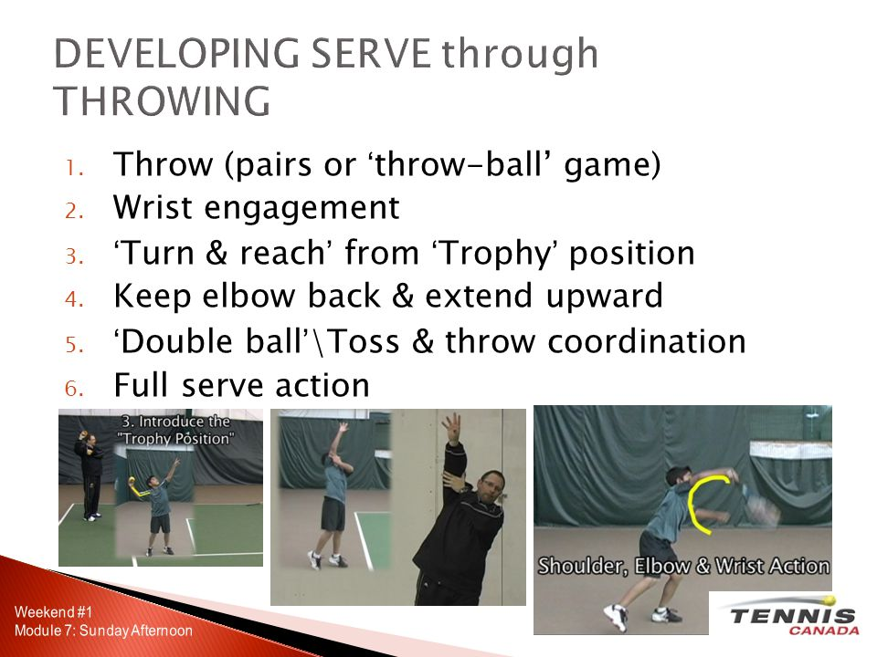1. Throw (pairs or throw-ball game) 2. Wrist engagement 3.Turn & reach from Trophy position 4.