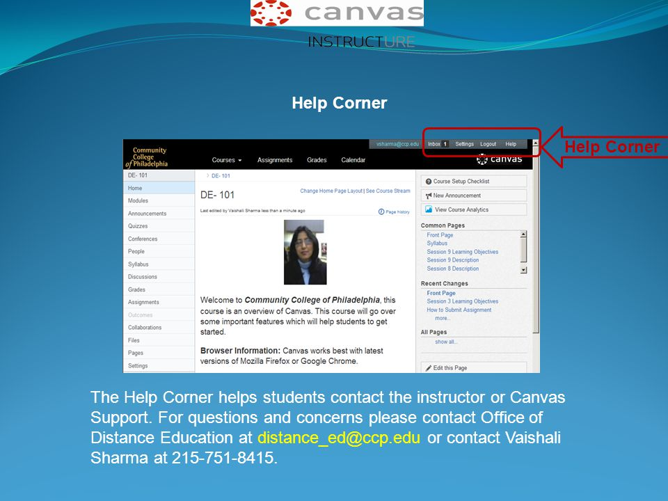 Help Corner The Help Corner helps students contact the instructor or Canvas Support. For questions and concerns please contact Office of Distance Educ