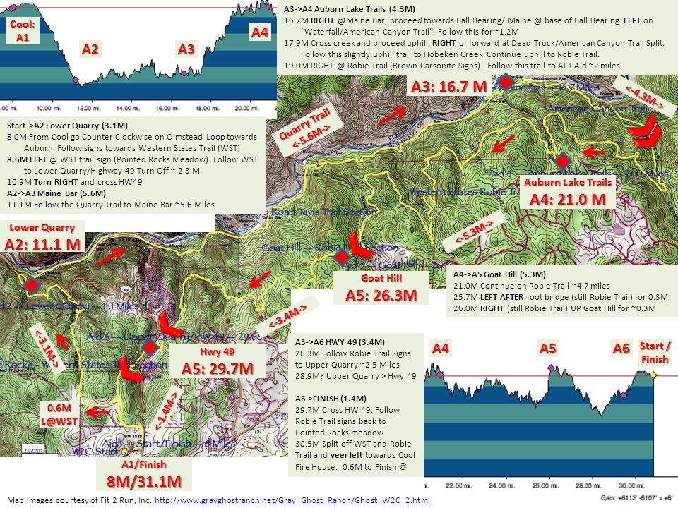 Maine Bar A3: 16.7 M Auburn Lake Trails A4: 21.0 M Goat Hill A5: 26.3M Hwy 49 A5: 29.7M A1/Finish8M/31.1M Quarry Trail Quarry Trail <-4.3M-> <-5.3M-> <-3.4M-> <-1.4M-> A4 A5A6 A2A3 Start / Finish Start->A2 Lower Quarry (3.1M) 8.0M From Cool go Counter Clockwise on Olmstead Loop towards Auburn.