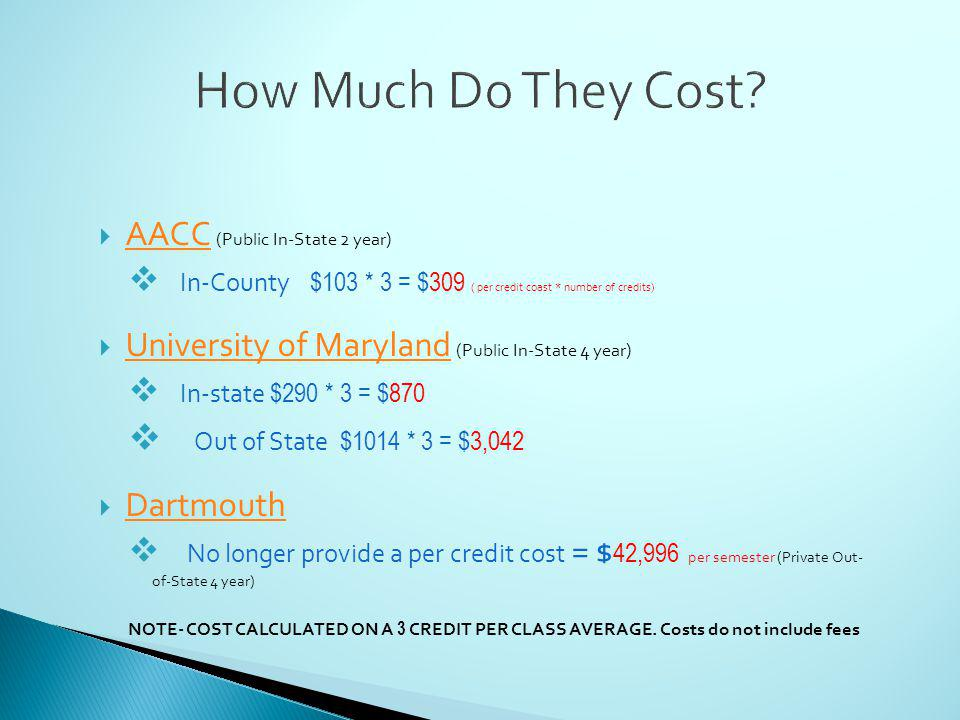 AACC (Public In-State 2 year) AACC In-County $103 * 3 = $309 ( per credit coast * number of credits) University of Maryland (Public In-State 4 year) University of Maryland In-state $290 * 3 = $870 Out of State $1014 * 3 = $3,042 Dartmouth No longer provide a per credit cost = $ 42,996 per semester (Private Out- of-State 4 year) NOTE- COST CALCULATED ON A 3 CREDIT PER CLASS AVERAGE.