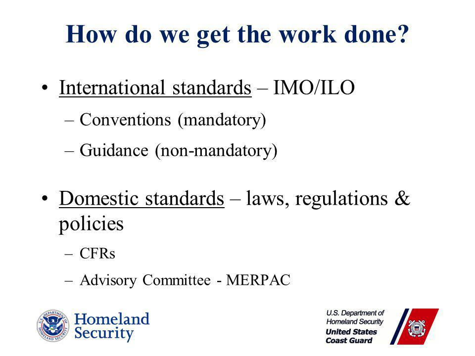 How do we get the work done? International standards – IMO/ILO –Conventions (mandatory) –Guidance (non-mandatory) Domestic standards – laws, regulatio