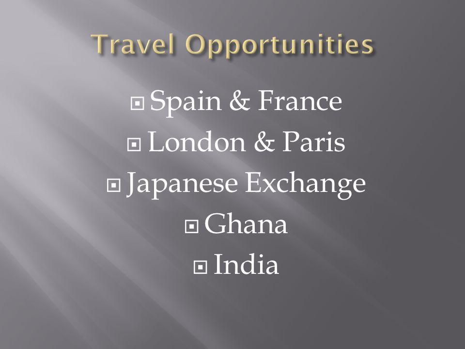 Spain & France London & Paris Japanese Exchange Ghana India
