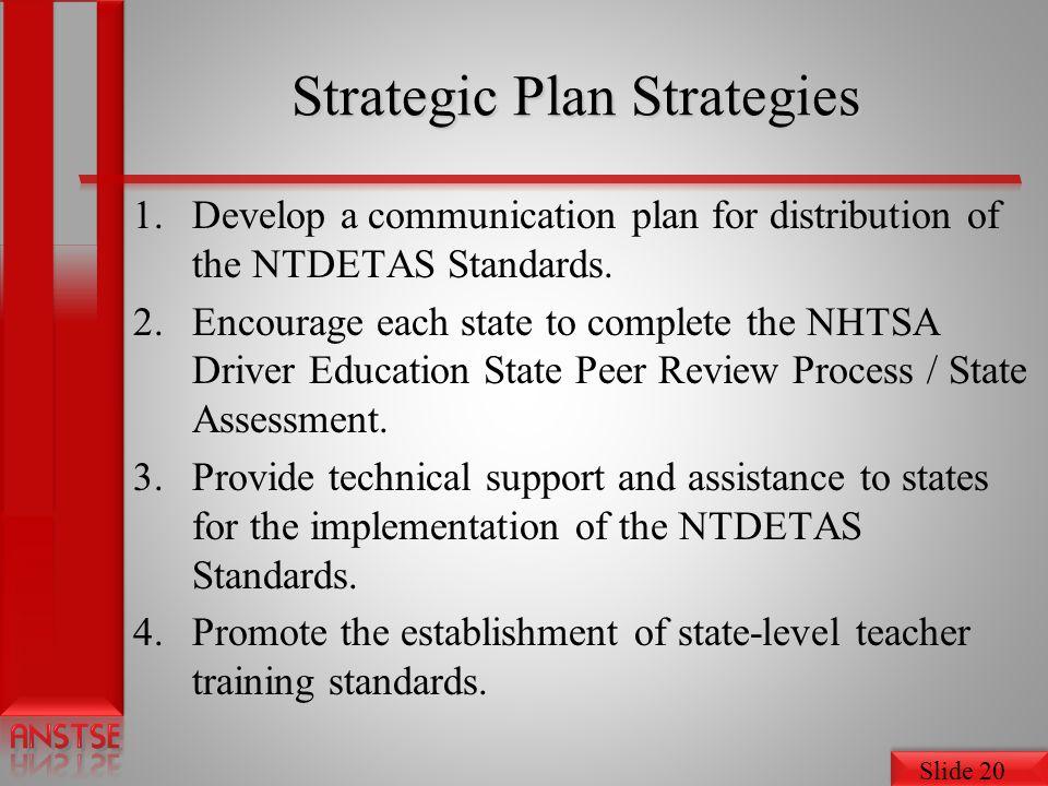 Slide 20 Strategic Plan Strategies 1.Develop a communication plan for distribution of the NTDETAS Standards.