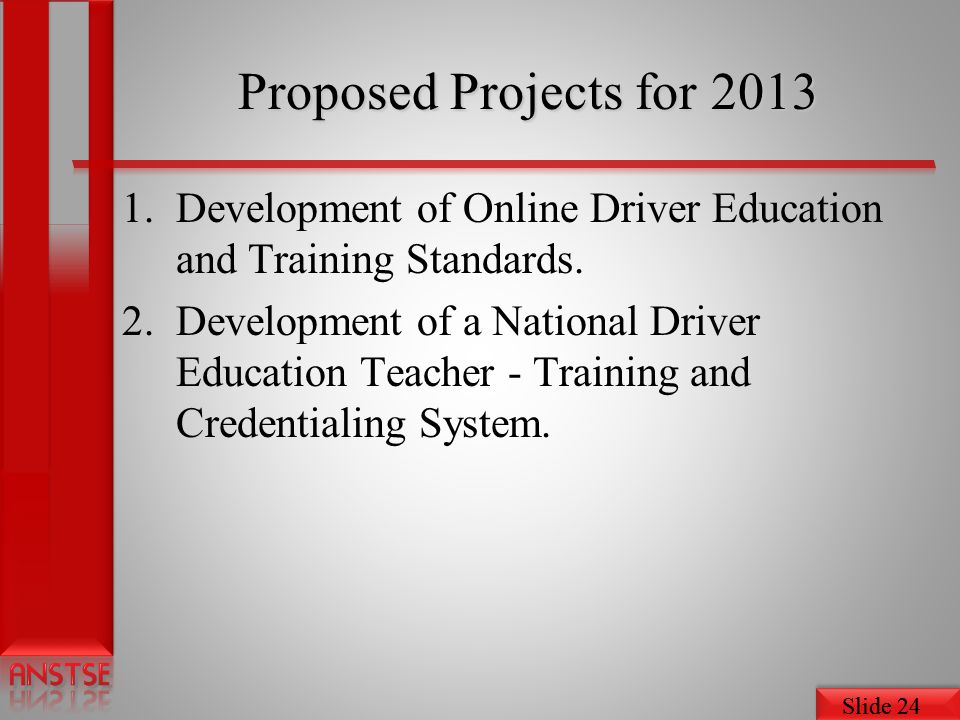Slide 24 Proposed Projects for 2013 1.Development of Online Driver Education and Training Standards.