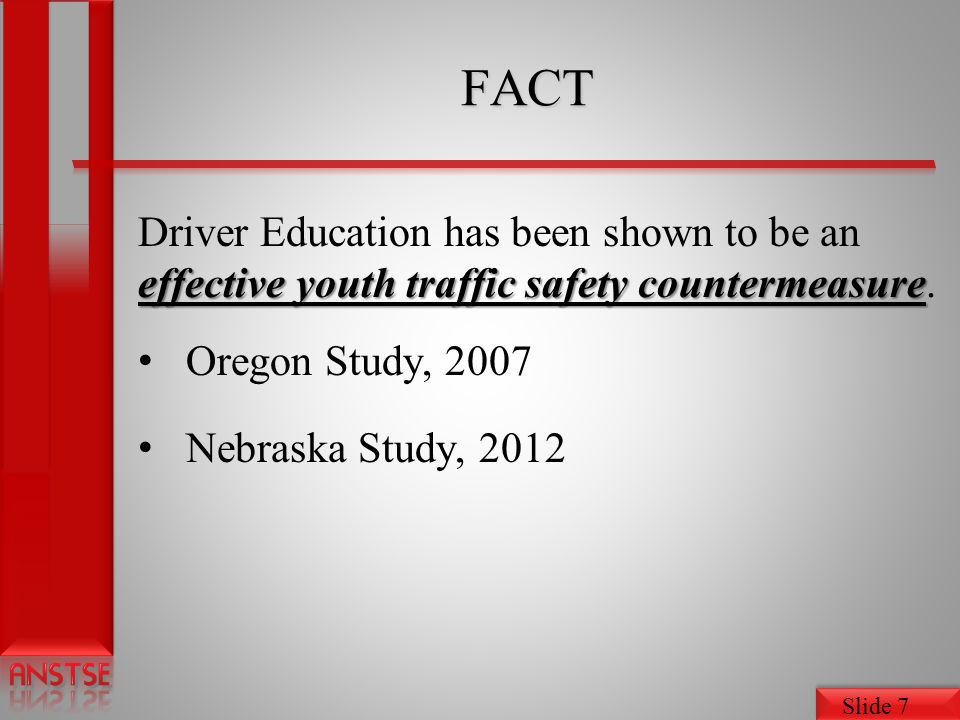 Slide 18 Novice Teen Driver Education and Training Administrative Standards Administrative Standards Sections: 1.Program Administration 2.Education and Training 3.Instructor Qualifications 4.Parental Involvement 5.Coordination with Driver Licensing Appendix E & F; Content Standards