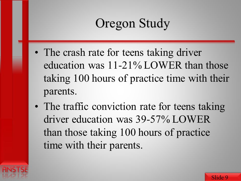 Slide 9 Oregon Study The crash rate for teens taking driver education was 11-21% LOWER than those taking 100 hours of practice time with their parents.
