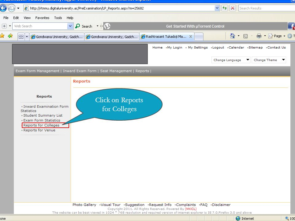 Click on Reports for Colleges