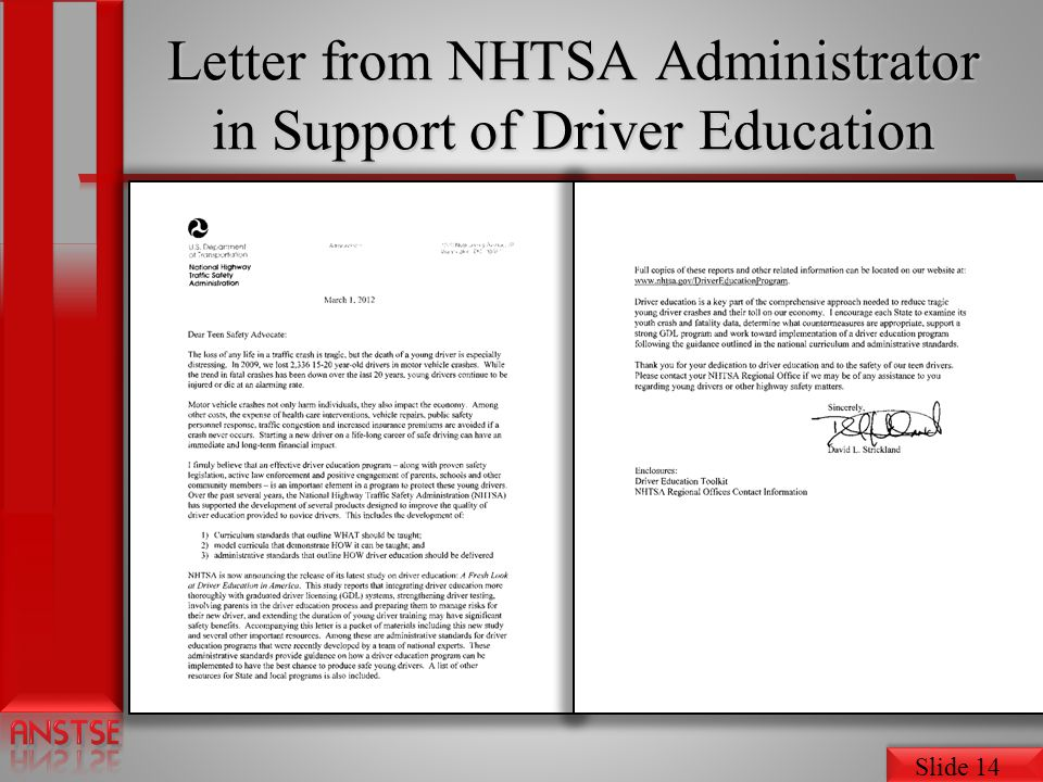 Slide 14 Letter from NHTSA Administrator in Support of Driver Education