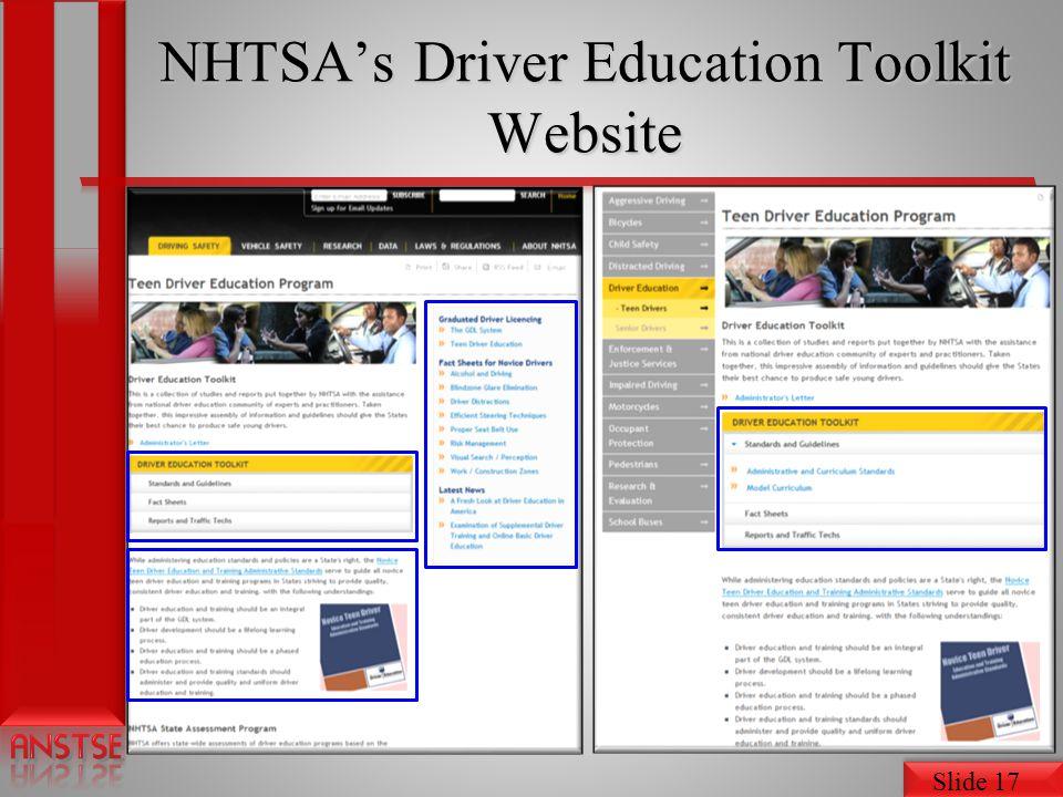 Slide 17 NHTSAs Driver Education Toolkit Website