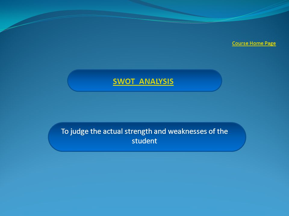 SWOT ANALYSIS To judge the actual strength and weaknesses of the student