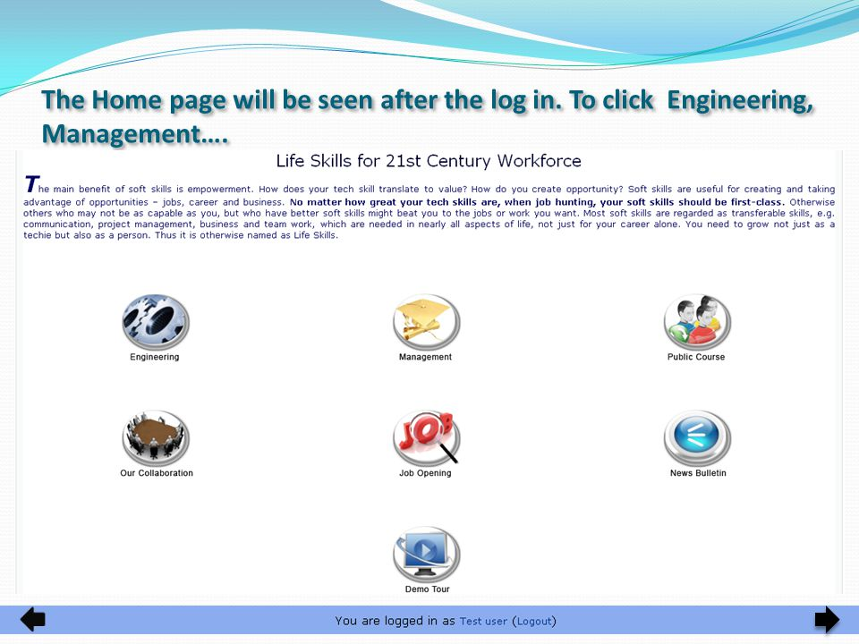 The Home page will be seen after the log in. To click Engineering, Management….