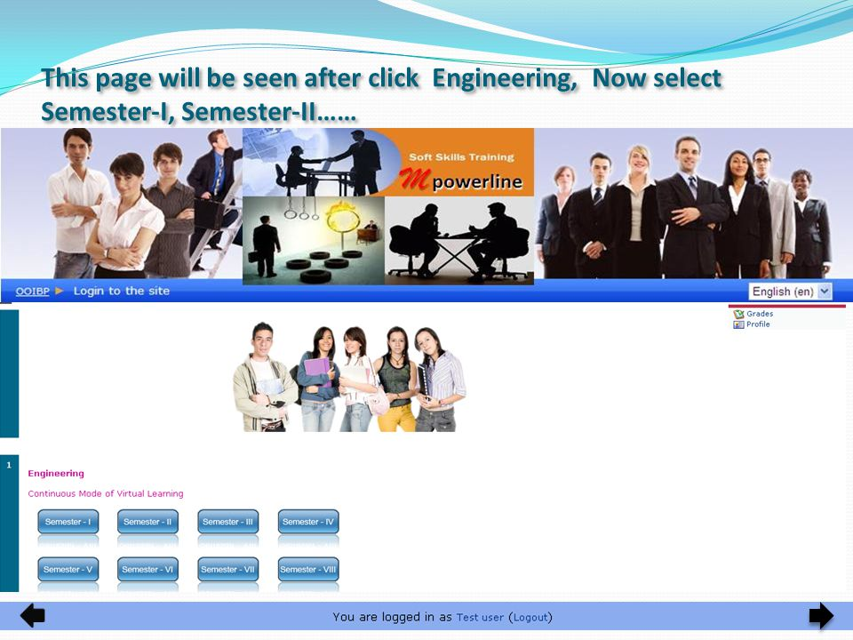 This page will be seen after click Engineering, Now select Semester-I, Semester-II……