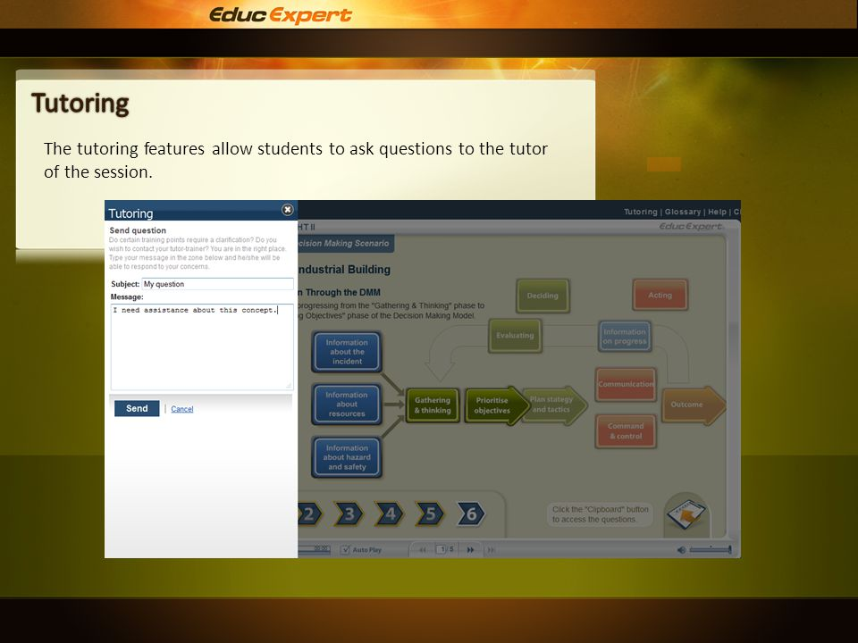 The tutoring features allow students to ask questions to the tutor of the session.