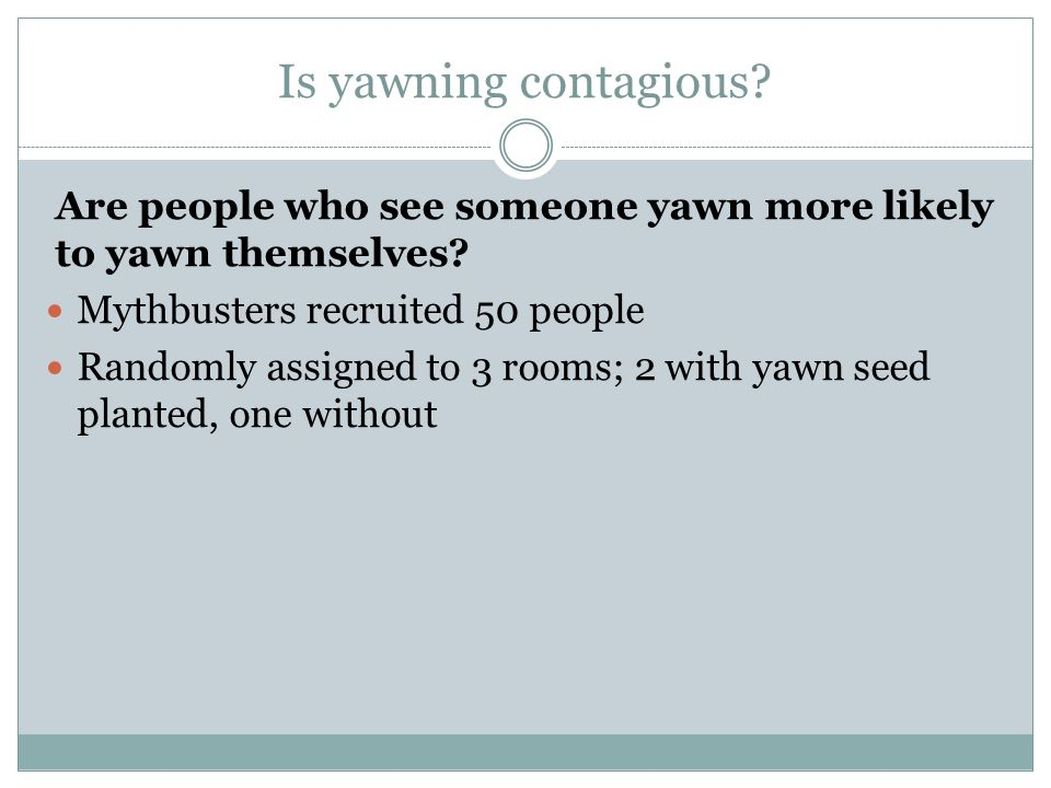Is yawning contagious. Are people who see someone yawn more likely to yawn themselves.