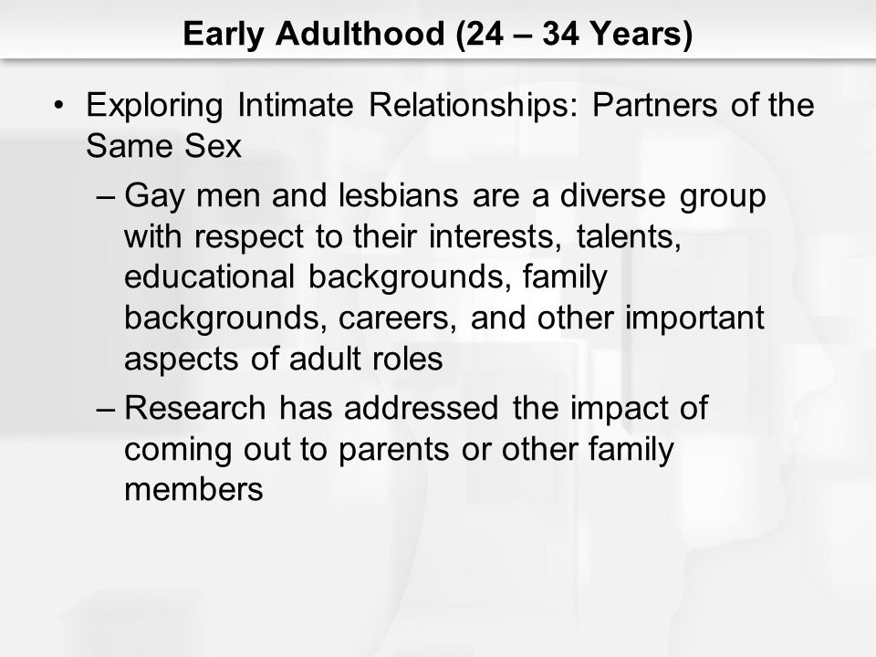 Early Adulthood (24 – 34 Years) Exploring Intimate Relationships: Partners of the Same Sex –Gay men and lesbians are a diverse group with respect to their interests, talents, educational backgrounds, family backgrounds, careers, and other important aspects of adult roles –Research has addressed the impact of coming out to parents or other family members