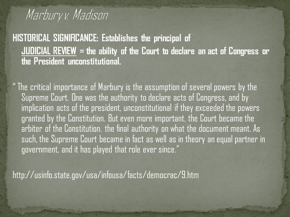 Judiciary Act of 1801 = Adams tries to pack the court with Federalist judges Midnight judges = the Federalist appointees, including John Marshall as C