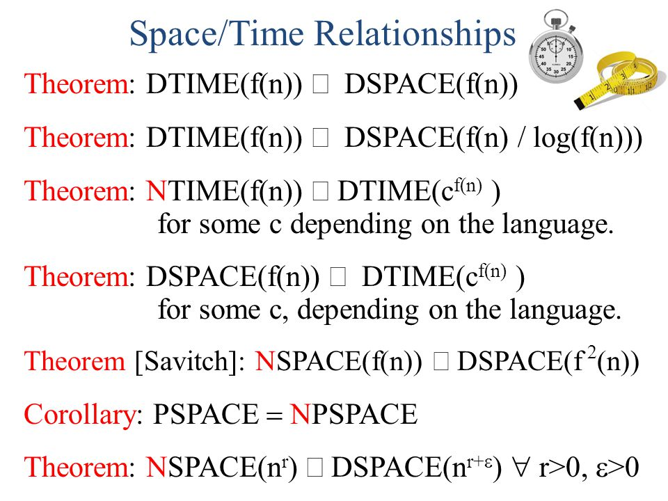 Space/Time Relationships Theorem: DTIME(f(n)) DSPACE(f(n)) Theorem: DTIME(f(n)) DSPACE(f(n) / log(f(n))) Theorem: NTIME(f(n)) DTIME(c f(n) ) for some