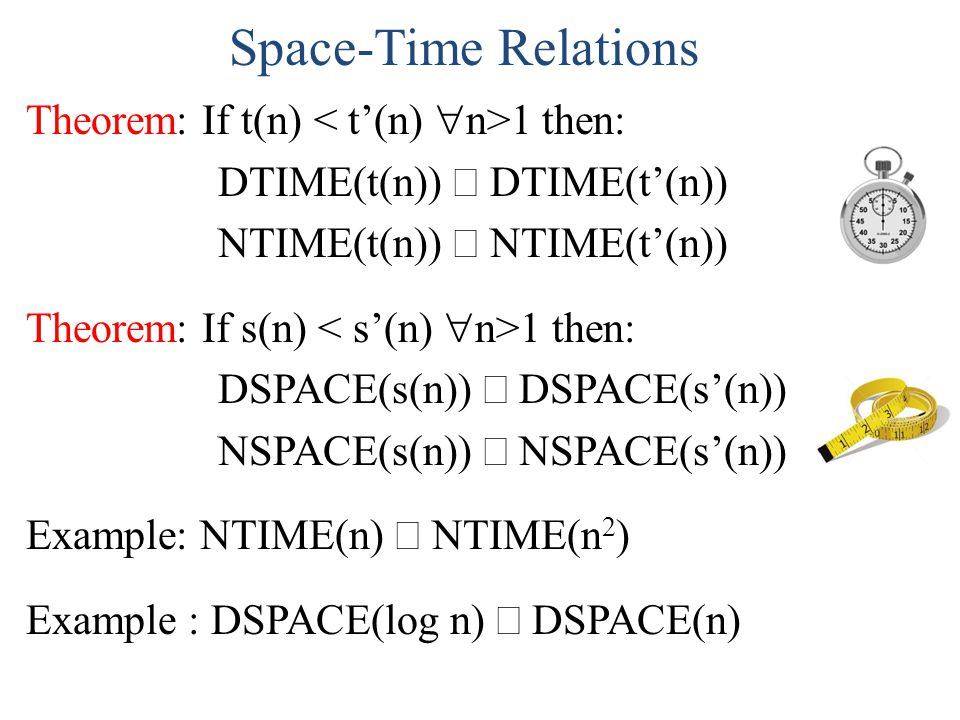 Time Complexity Hierarchy (proof) Consider whether K L: K L M K must accept K within t(K) time M K must reject K K L K L M K must reject K within t(K) time M K must accept K K L So (K L) (K L), a contradiction.