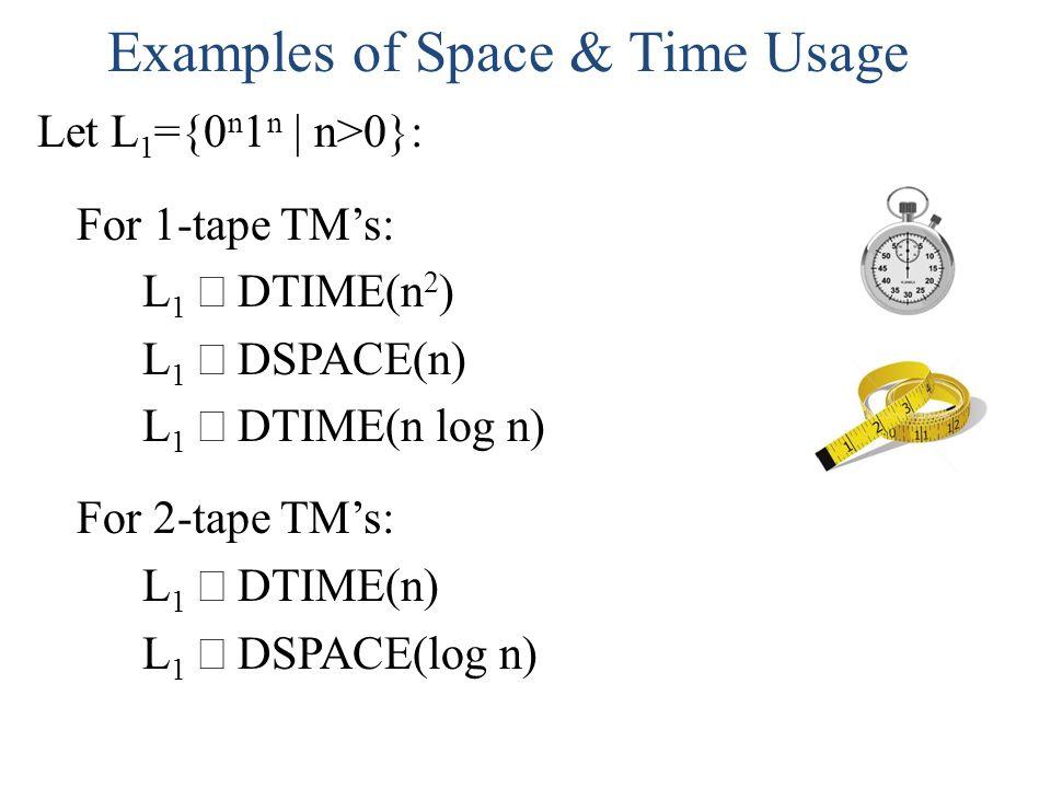 Examples of Space & Time Usage Let L 1 ={0 n 1 n | n>0}: For 1-tape TMs: L 1 DTIME(n 2 ) L 1 DSPACE(n) L 1 DTIME(n log n) For 2-tape TMs: L 1 DTIME(n)