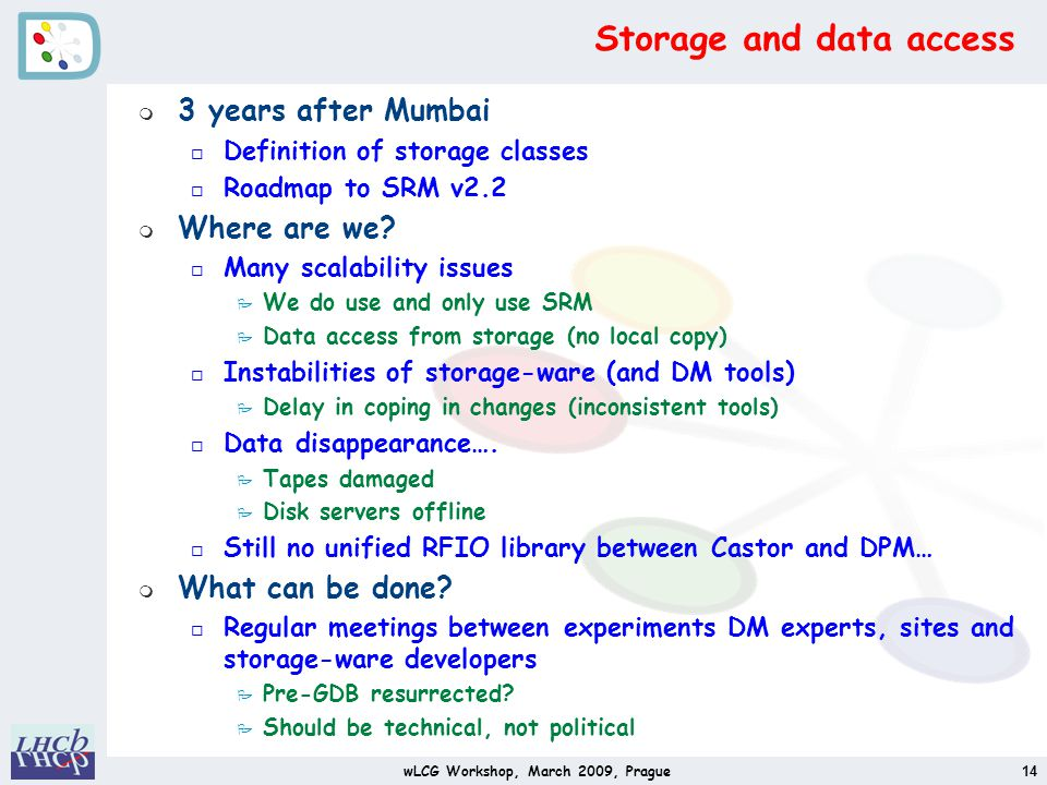 Storage and data access m 3 years after Mumbai o Definition of storage classes o Roadmap to SRM v2.2 m Where are we.