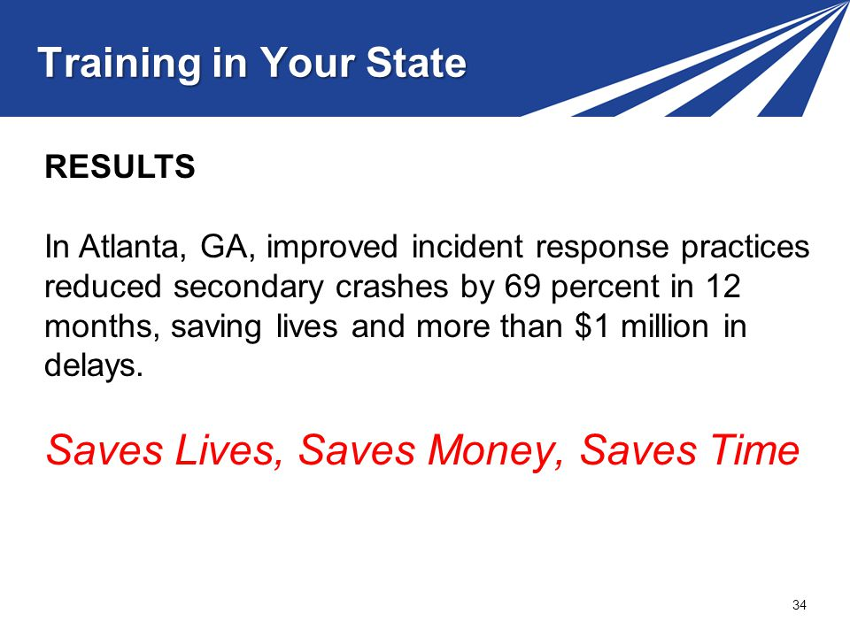 Training in Your State 34 RESULTS In Atlanta, GA, improved incident response practices reduced secondary crashes by 69 percent in 12 months, saving lives and more than $1 million in delays.