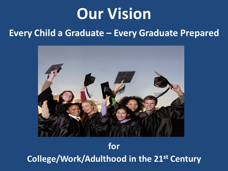 Our Vision Every Child a Graduate – Every Graduate Prepared for College/Work/Adulthood in the 21 st Century
